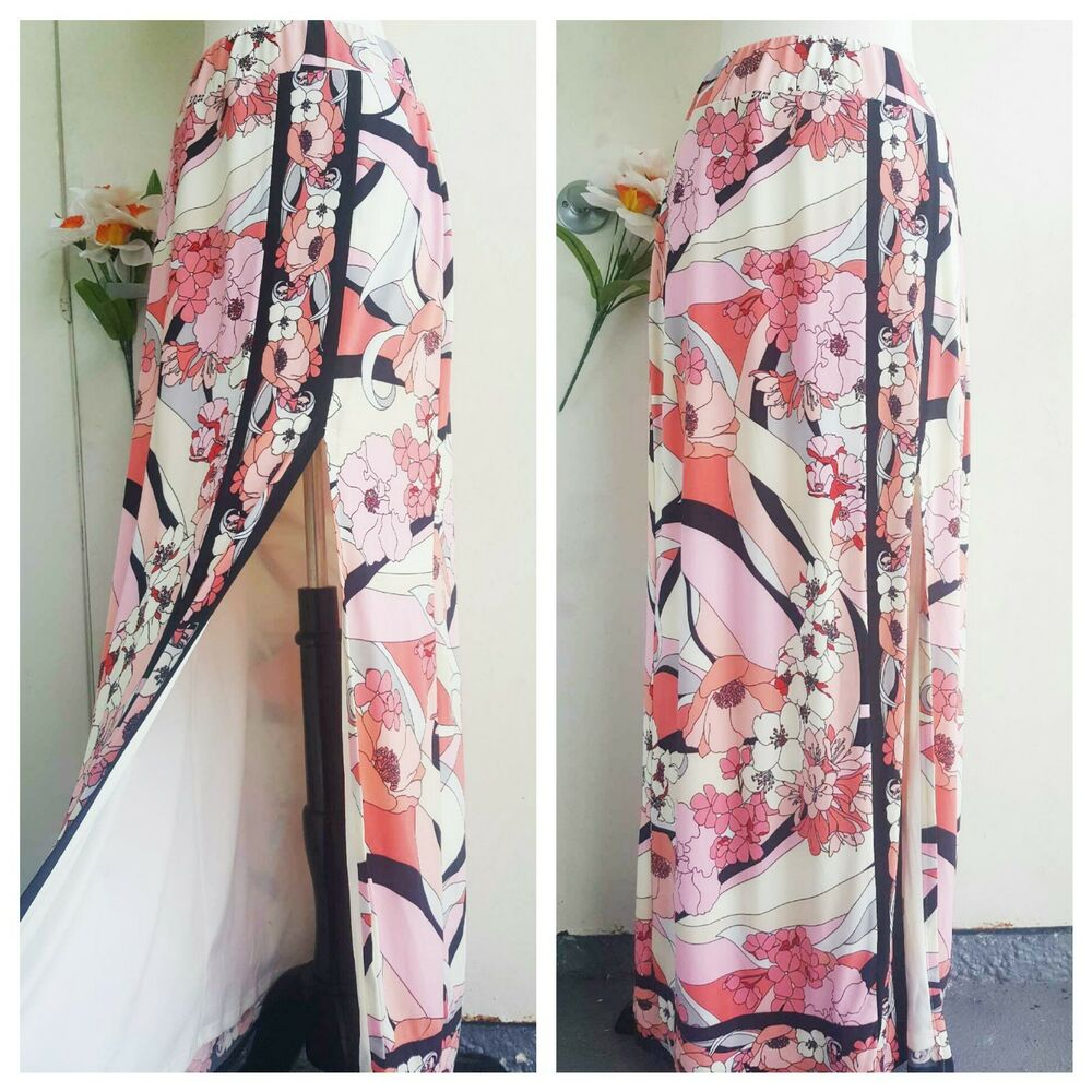 59b44ec5f Black And White Flowy Maxi Skirt