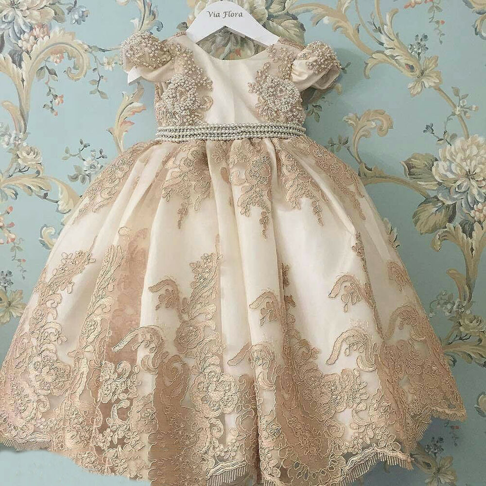 Cute Baby Girl Christening Dresses Bead Pearls Antique