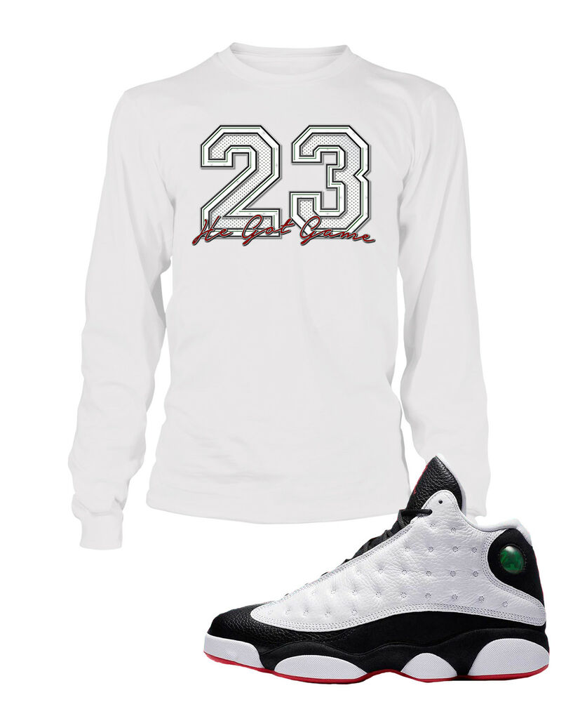 f8d9f5cc712749 Details about 23 Tee Shirt to Match Air Jordan 13 He Got Game Shoe Graphic  Tee Big and Tall