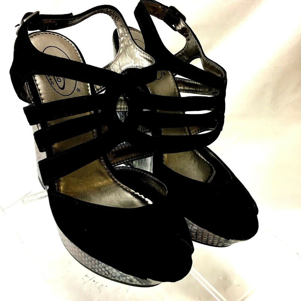 3bac54d19a2 Details about Bolaro by Summer Rio Platform Wedge Peep Toe Style DW4113  Black Sz 7M