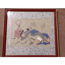 ANTIQUE JAPANESE WOODBLOCK HAND PAINTED ON SILK EROTICA NUDE **read**