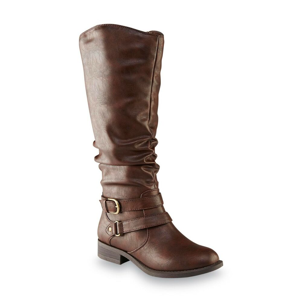 bcd57ac43a6 Details about New Womens Jaclyn Smith Erica Riding Boot Style 30616 Wide  Width Avail Brown