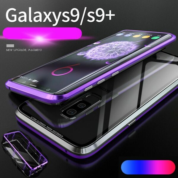 For Samsung Galaxy S10 S9 S8 Note 9 Magnetic Adsorption Flip Tempered Glass Case