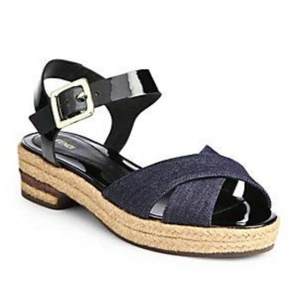 46ac4e6b89c9f Details about FENDI JUNIA DENIM ANKLE STRAP ESPADRILLE PLATFORM SANDALS EU  39.5 I LOVE SHOES