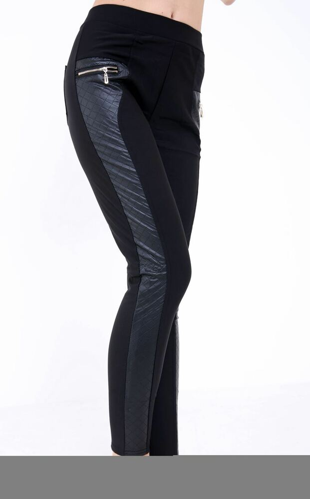46aa263d68118 Details about Ladies PVC Denim Look Jeggings Wet Look Side Panel Faux  Leather Gold Zip Legging
