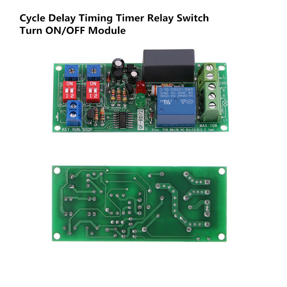 Ac 110v 120v 220v 230v Cycle Delay Timing Timer Relay Switch Turn On Circuit Off Module Ebay