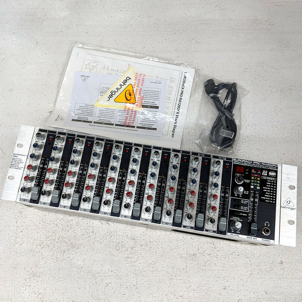 details about behringer rx1202fx rack mount 12-channel mixer w/ effects 110-240v  no orig box