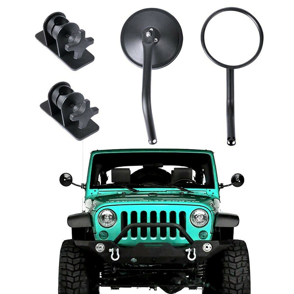 Doors Off Hinge Side Rear View Round Mirrors For Jeep