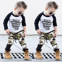 US 2PCS Kids Baby Boys Clothes Outfit Set T Shirt Tops+Camouflage Pants Leggings