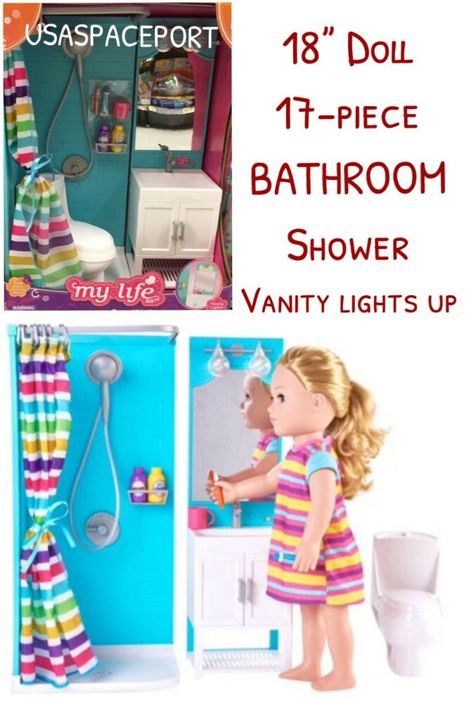 18-in Doll BATHROOM SHOWER Set LIGHT-UP VANITY for My Life ...