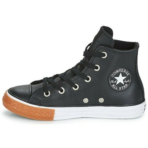 Converse Chuck Taylor All Star Leather Black White Gum Honey Hi Top