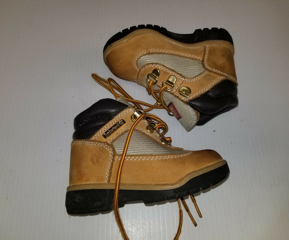 5317ad1ec75e BOYS BABY TODDLER TIMBERLAND 15845 WHEAT TAN HIKING FIELD TD BOOTS ...