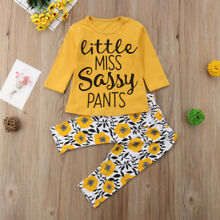 US Stock Newborn Baby Girls Clothes T Shirt Top+Floral Pants Leggings Outfit Set