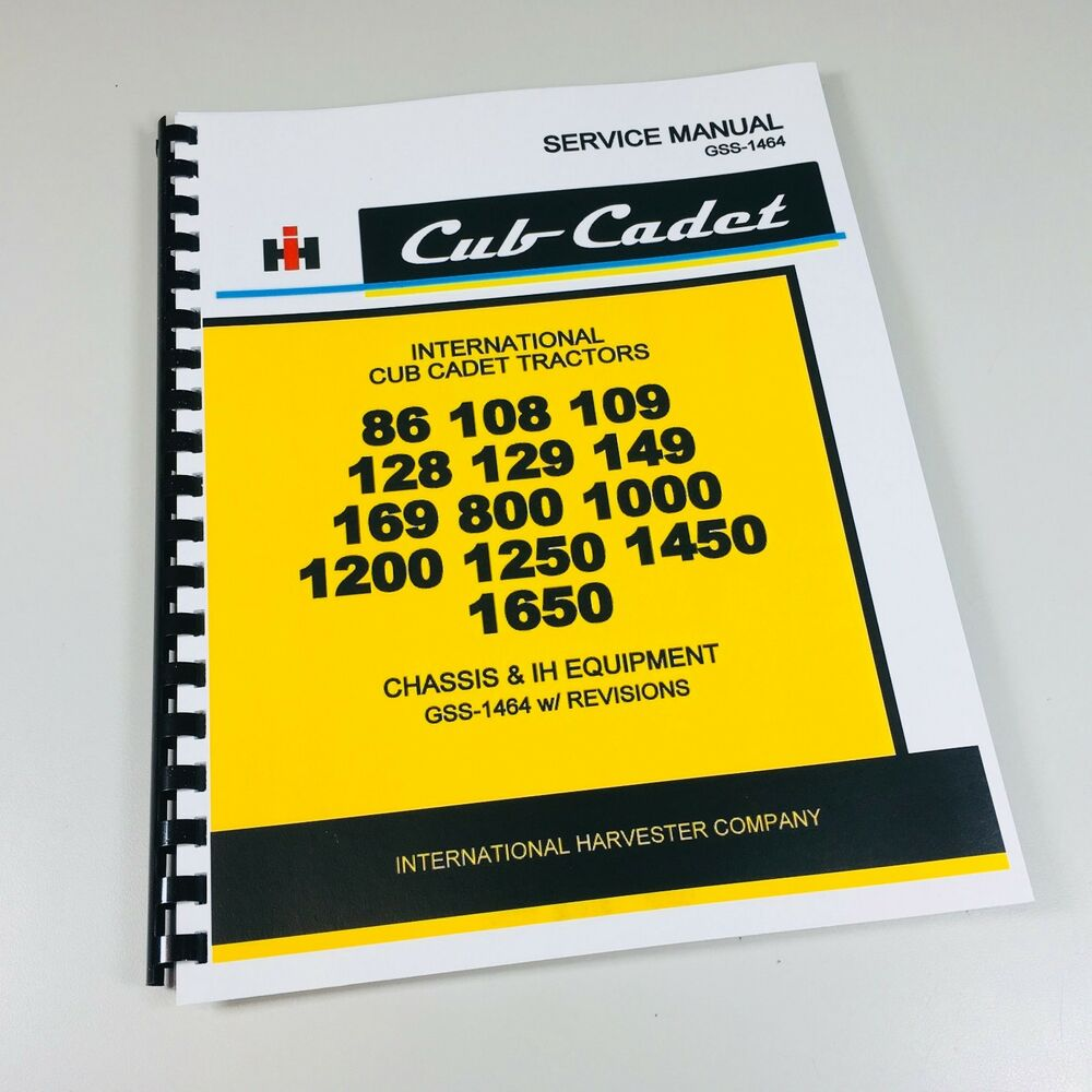 IH Cub Cadet 169 800 1000 1200 1250 1450 1650 Tractor Service Shop Repair  Manual | eBay