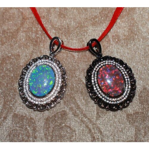 fire-opal-cz-necklace-pendant-gems-black-silver-jewelry-classic-oval-cocktail-b5