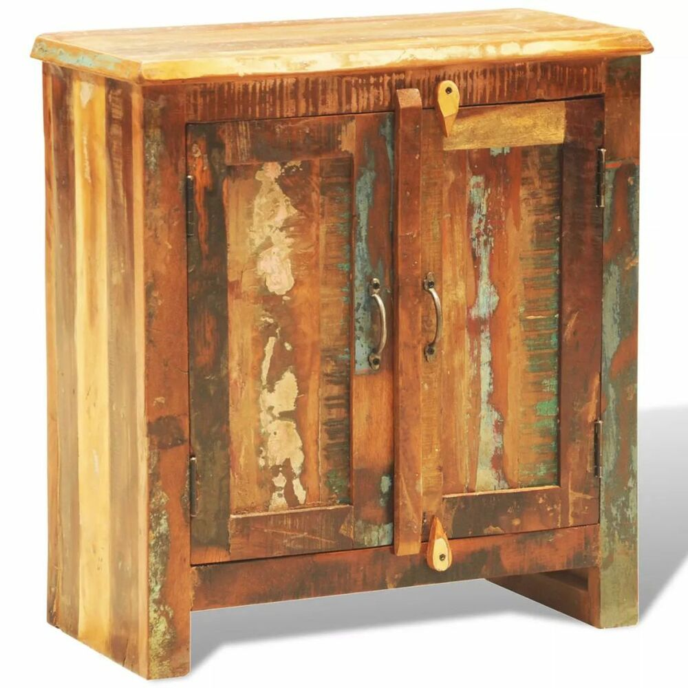 Wooden Cabinet Solid Wood With 2 Doors Storage Vintage Style