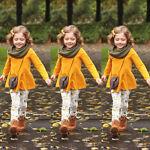 USA Child Toddler Kids Girls Outfits Clothes Long Sleeve T shirt Tops Pants Set