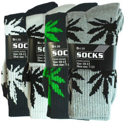 Kyпить 3-12 Pairs/1dz Mens Sports Leaf Weed Marijuana Crew Cotton Long Socks Size 10-13 на еВаy.соm