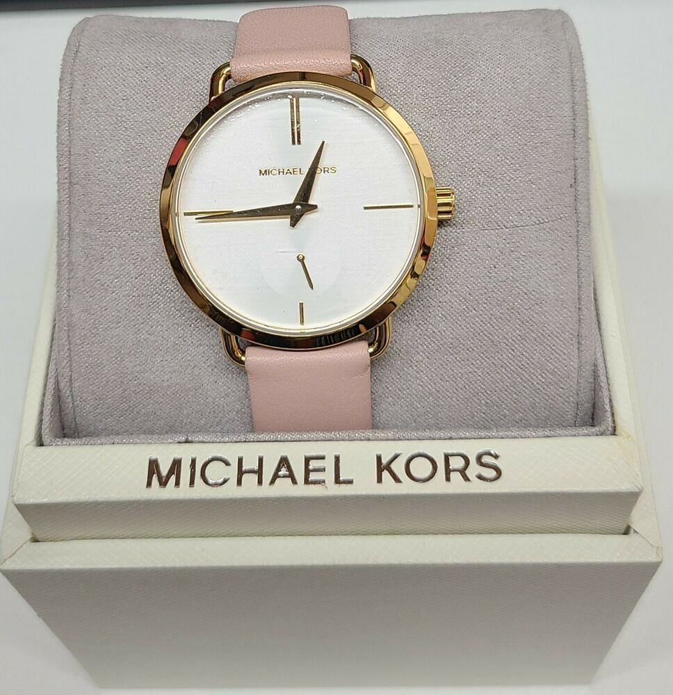 58ff1719855c Details about Michael Kors MK2659 Portia White Dial Pink Leather Strap  Women s Watch