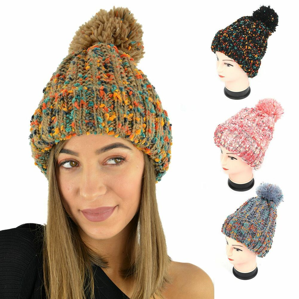 525bbad07e1b3d Details about WOMENS MENS WINTER CHUNKY WARM LINED BOBBLE POM POM HAT  COLOURFUL BEANIE