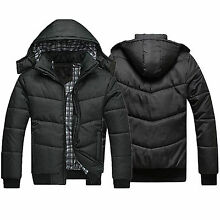 Men's Winter Padded Down Coat Slim Thicken Casual Hooded Outerwear Parka Jacket