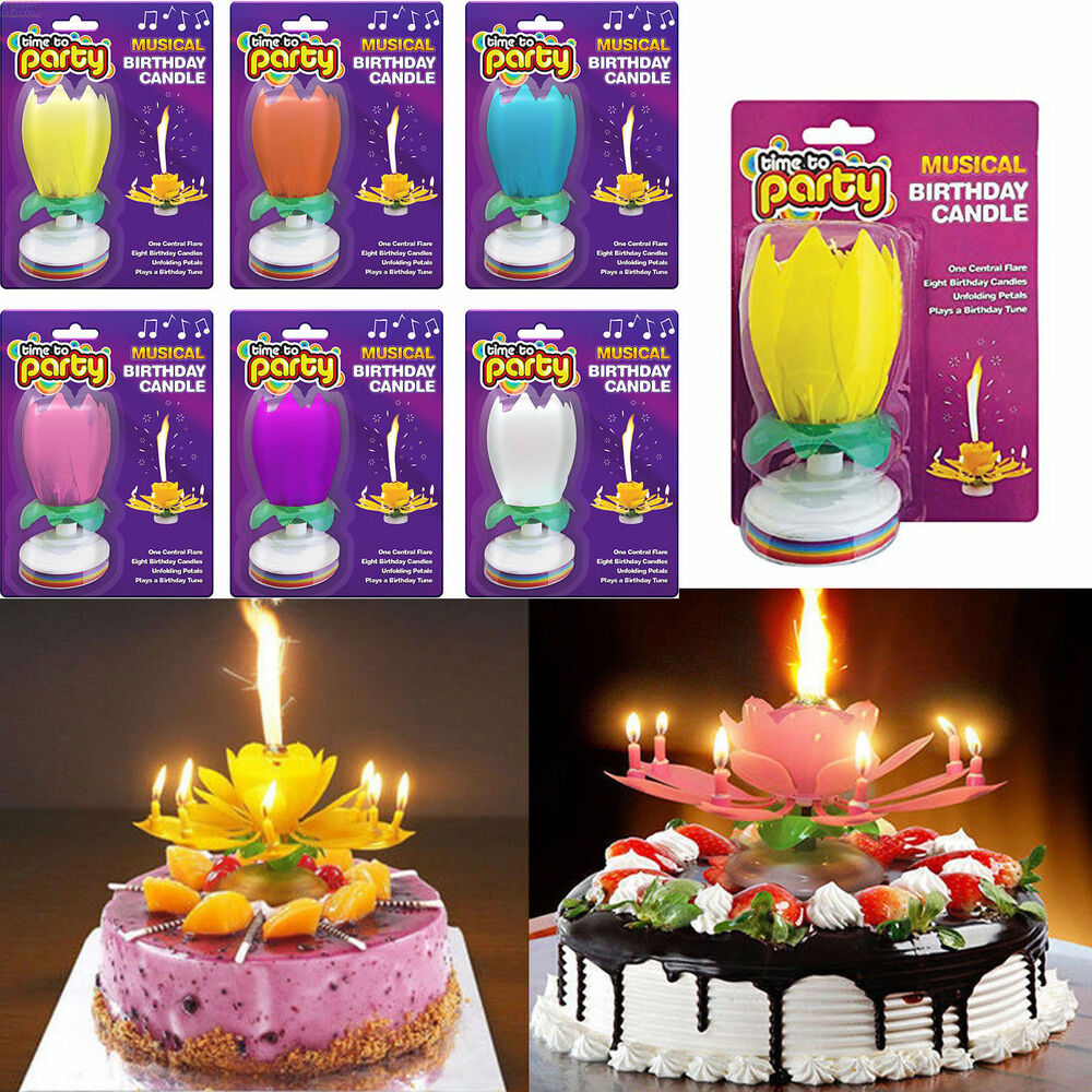 Details About X2 Magical Flower Birthday Blossom Lotus Musical Candle Romantic Party Cake Kids