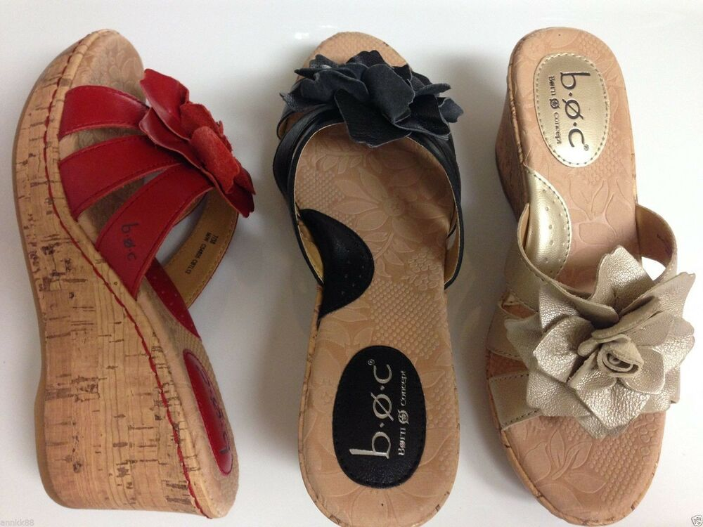 e82e2f10598 Details about NWT Women s Born Manona Leather Wedge Heel Sandals Red Black Natural  Retail