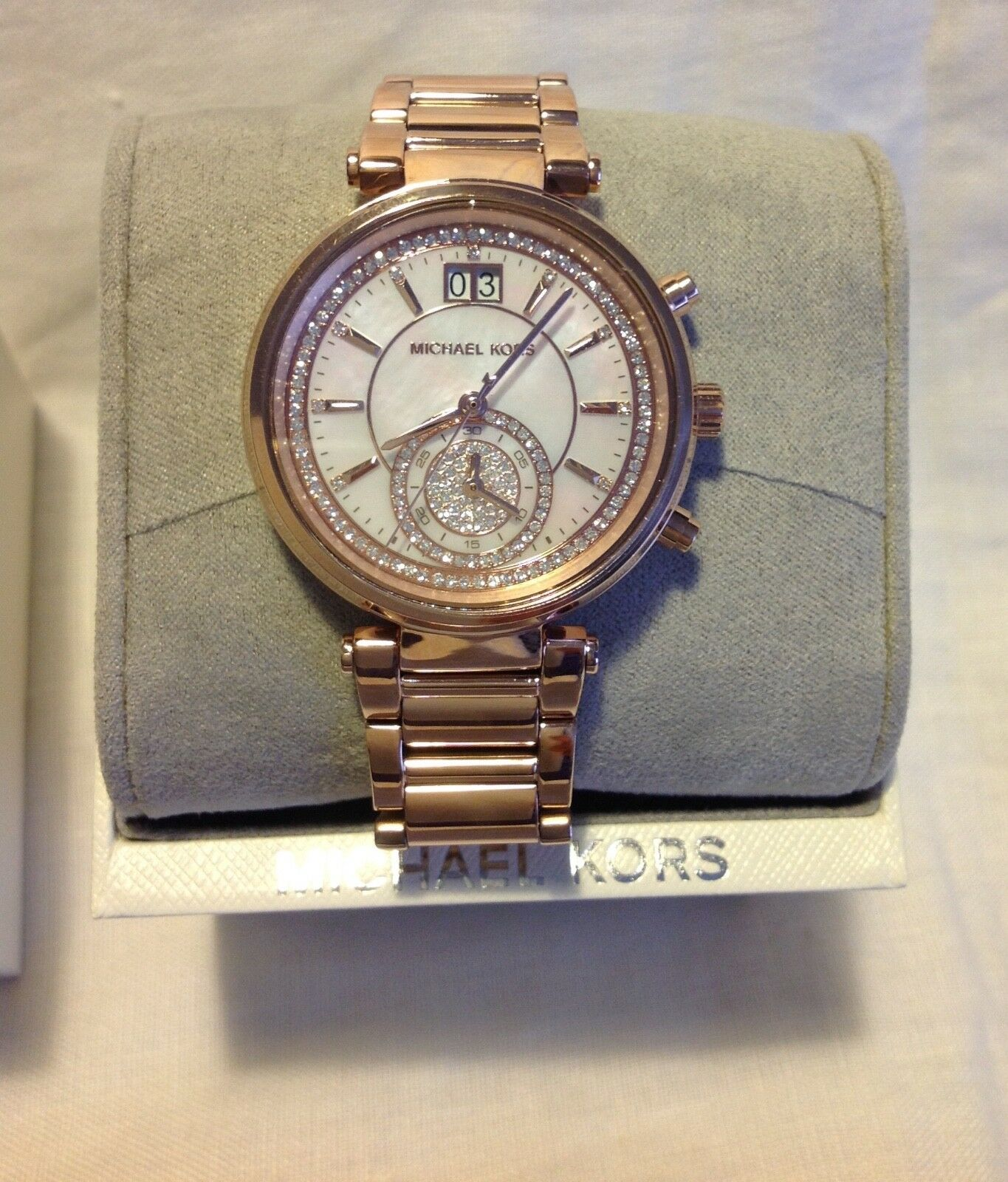 8e461e93b84b ... UPC 796483214194 product image for Michael Kors Sawyer Mother Of Pearl  Crystal Pave Dial Rose Gold ...