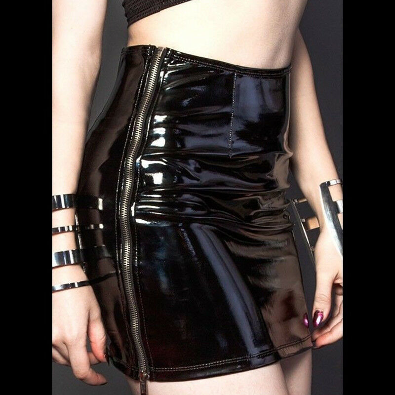 f9bdd0750 Details about Women Black Leather Bodycon Short Mini Skirt Wet Look High  Waist Tight Clubwear