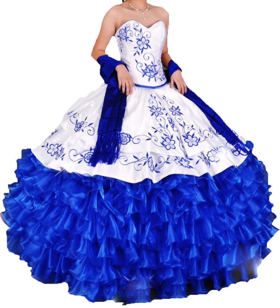 Blue And White Ball Gowns White and Royal blue Q...