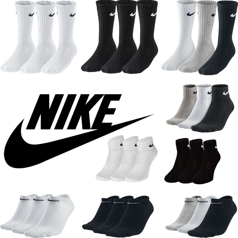 e6441ca92df4 Details about Nike Kids Junior 3 Pairs Socks Boys Ankle Crew Cotton Sports  Black White DRY FIT