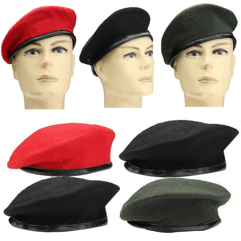 48c90b5beb9 Details about Unisex Military Army Soldier Hat Mens Womens Wool Beret  Uniform Casual Warm Cap