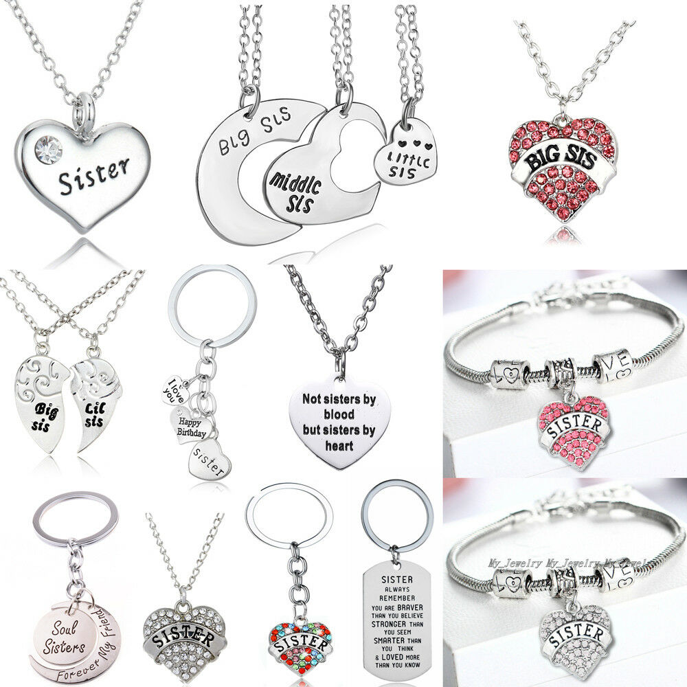 Details About Best Sister Gift Big Little Birthday Necklace Bracelet Key Ring New