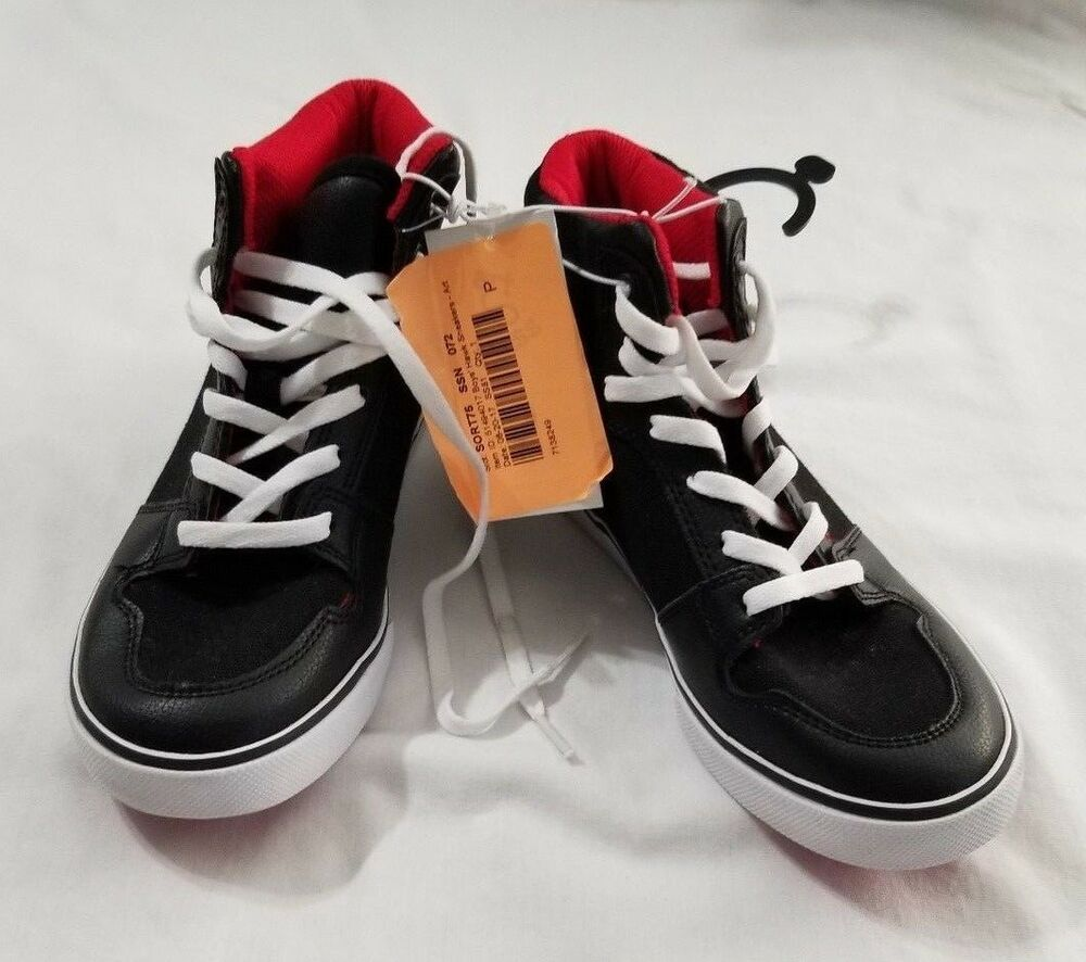 f05a903c22 Details about New Boy s Art Class Black W Red Inside Hawk High Top Sneakers  Shoes Size 2