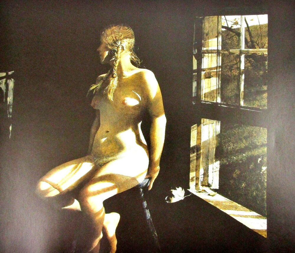 Details about Vintage Art Andrew Wyeth Lovers 1981 Garret Room 1962 Nude  Braids Old Man Quilt