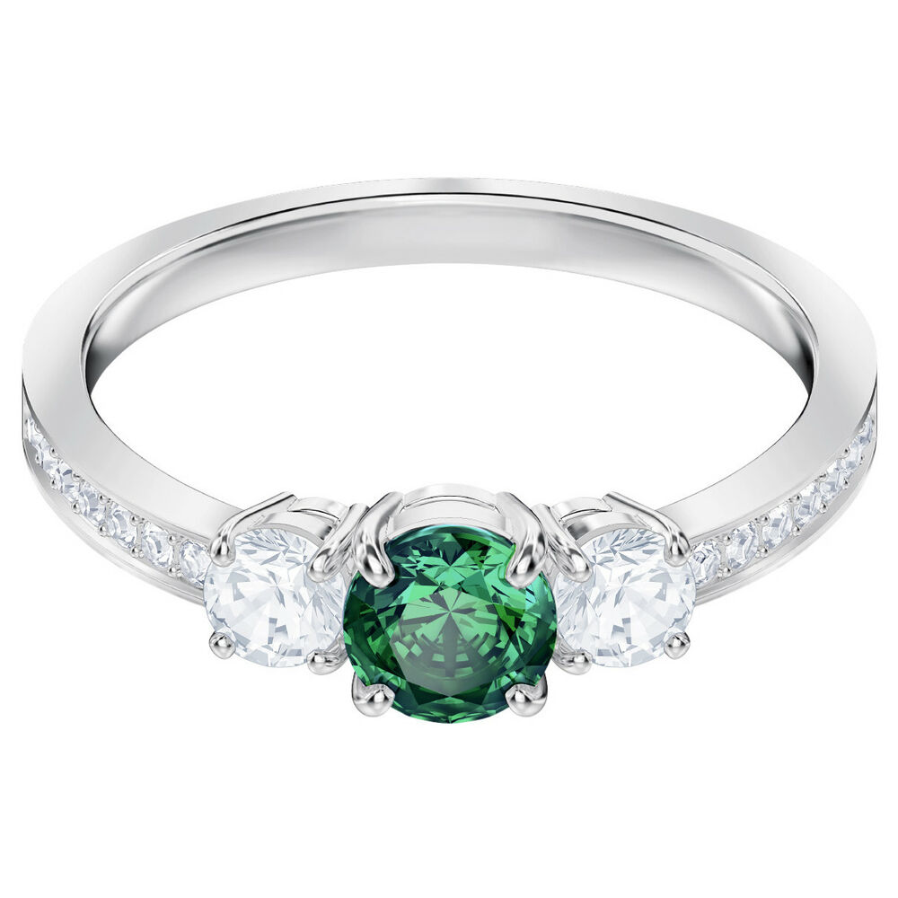 5157ed70f Details about ATTRACT TRILOGY RING GREEN RHODIUM SIZE 6 EUR 52 2018  SWAROVSKI JEWELRY 5448893