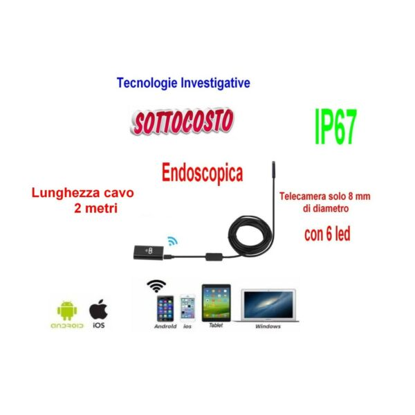 TELECAMERA ENDOSCOPICA WIFI PER ISPEZIONE IP67 IPHONE ANDROID 5 METRI