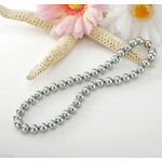 """Charm charming 8mm Silver Gray South Sea Shell Pearl Necklace 18"""" AAA"""