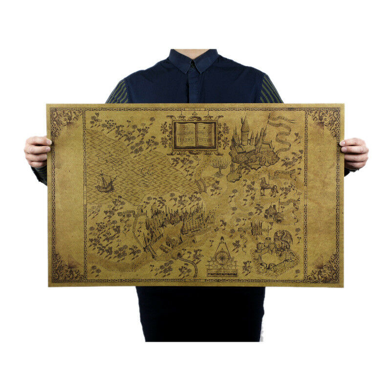 Map Of The Wizarding World Harry Potter Hogwarts Magic Large Paper ...