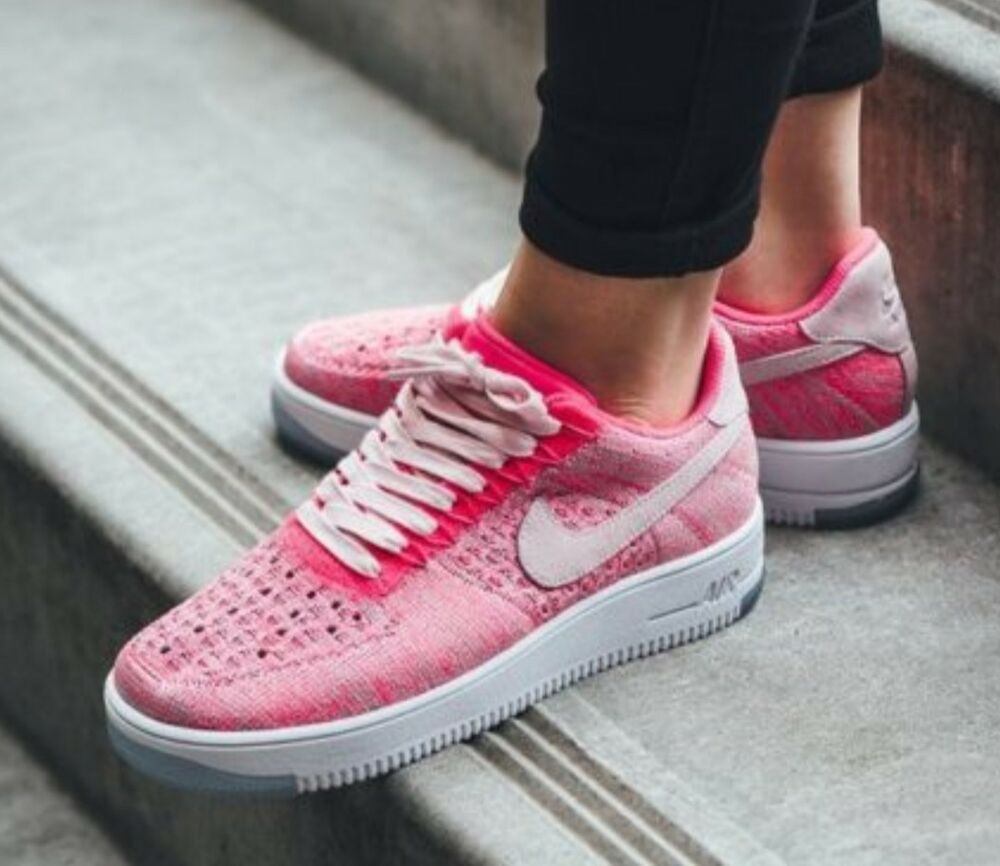 Conception innovante 21b9d a3fc8 Nouveau Nike AF1 Air Force One Ultra Low Flyknit Rose Blanc Baskets Hommes  Femmes UK 6 | eBay