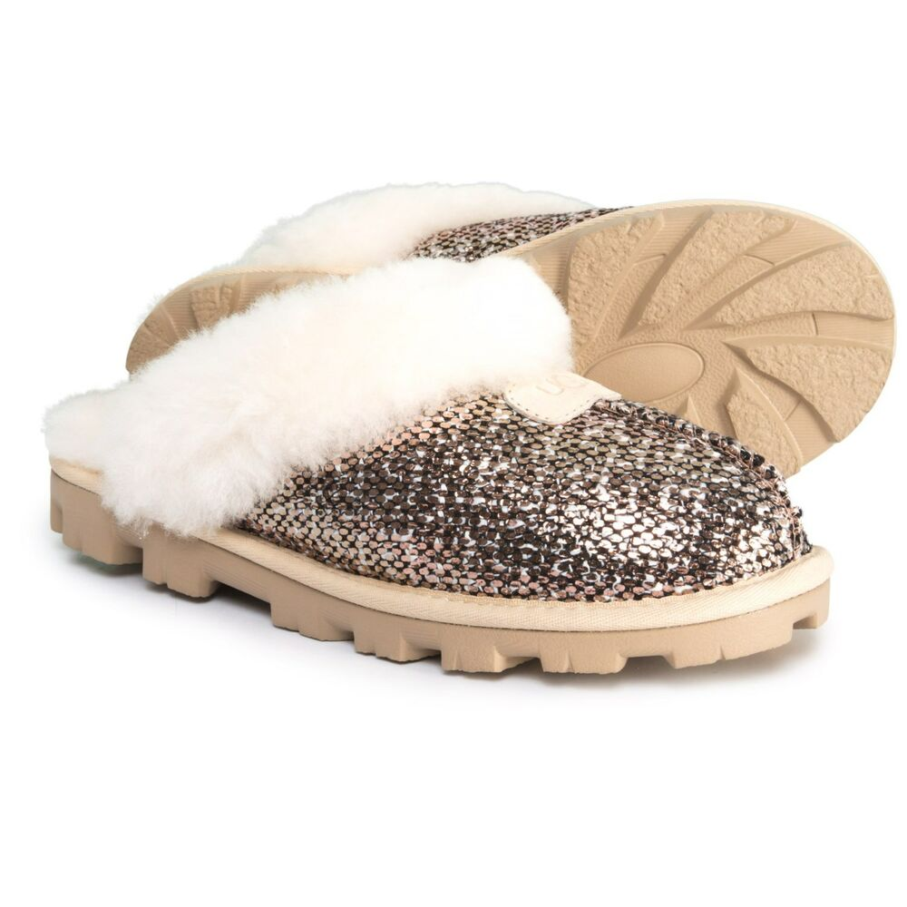 a53c89aca479 Details about NIB New Authentic Women s UGG Coquette Slippers Frill Bronze  Sequin US 11 EU 42