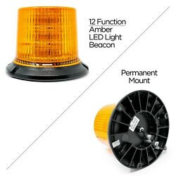 2572A Bolt Mounted Amber LED Light Beacon With 12 Flash Patterns, 10-30 Volt DC