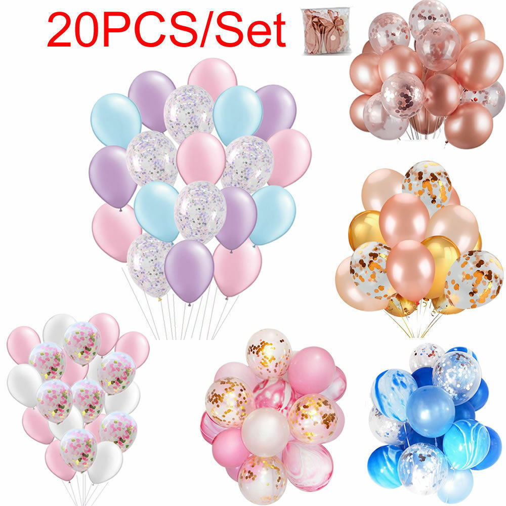 Details About 20pcs 12 Latex Confetti Balloon Helium Balloons Birthday Wedding Baby Shower