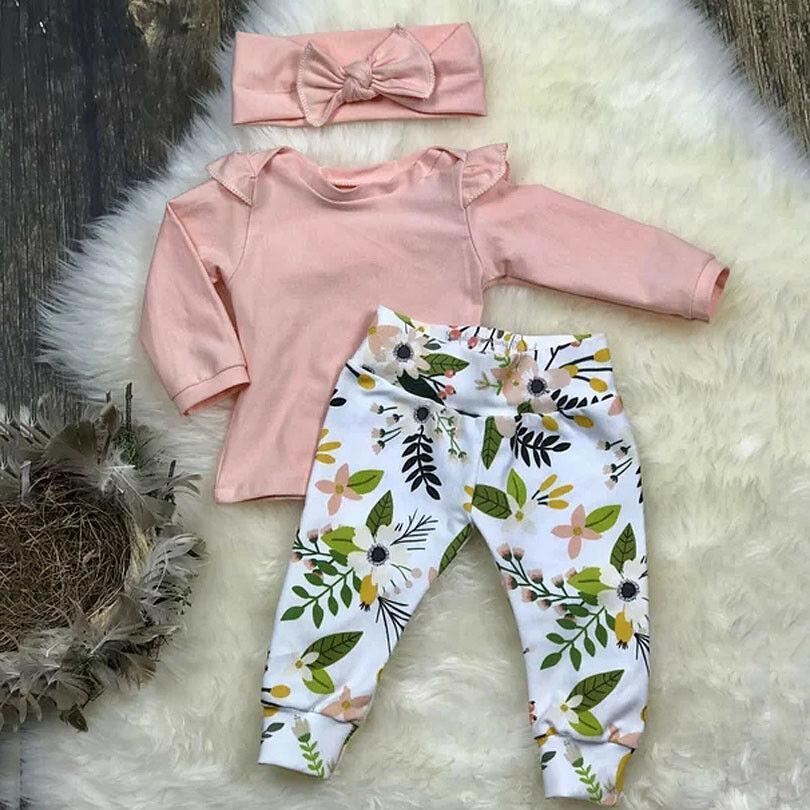 9e663a38e050 Details about US Stock Toddler Baby Girl Tops T shirt Floral Pants Headband Outfit  Clothes Set