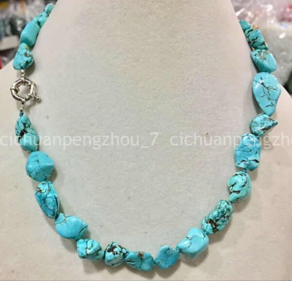 Natural Stone Blue Turquoise 10-14mm Irregular Beads Gemstone Chain Necklace 18