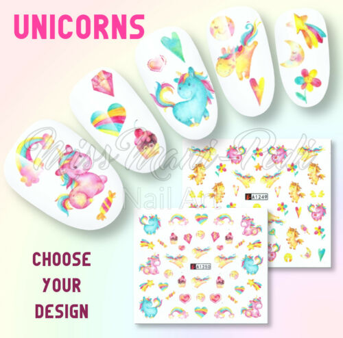 Unicorn Nail Decals, Water Decals, Nail Stickers, Cupcakes, Hearts, Unicorns