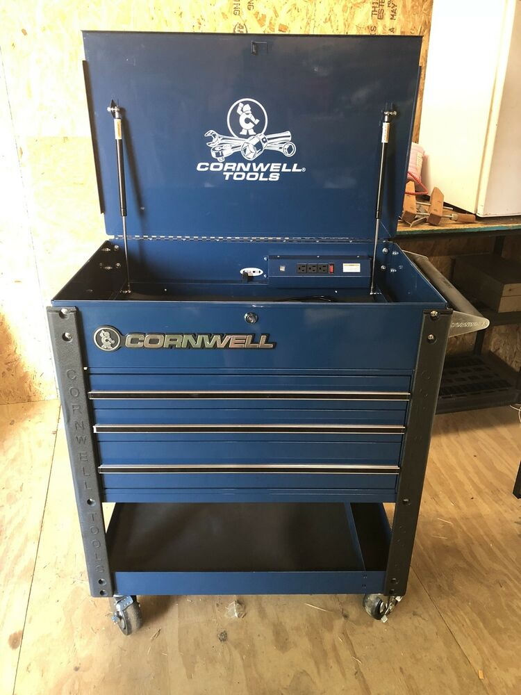 cornwell tools pro series tool cart 3 drawer w outlets & usb ...
