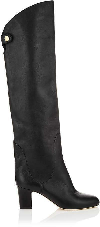 1e6f2e6bcc6c  1450 Jimmy Choo Minerva 65 Black Leather Over-The-Knee Boots Booties 36.5  439050032103