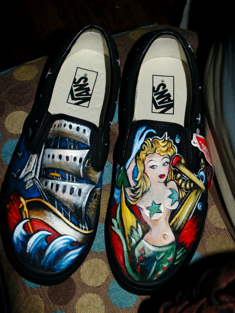 9f99a9bbdc Details about Custom TATTOO hand painted Men s sneakers VANS slip ons  Pirate sailor mermaid