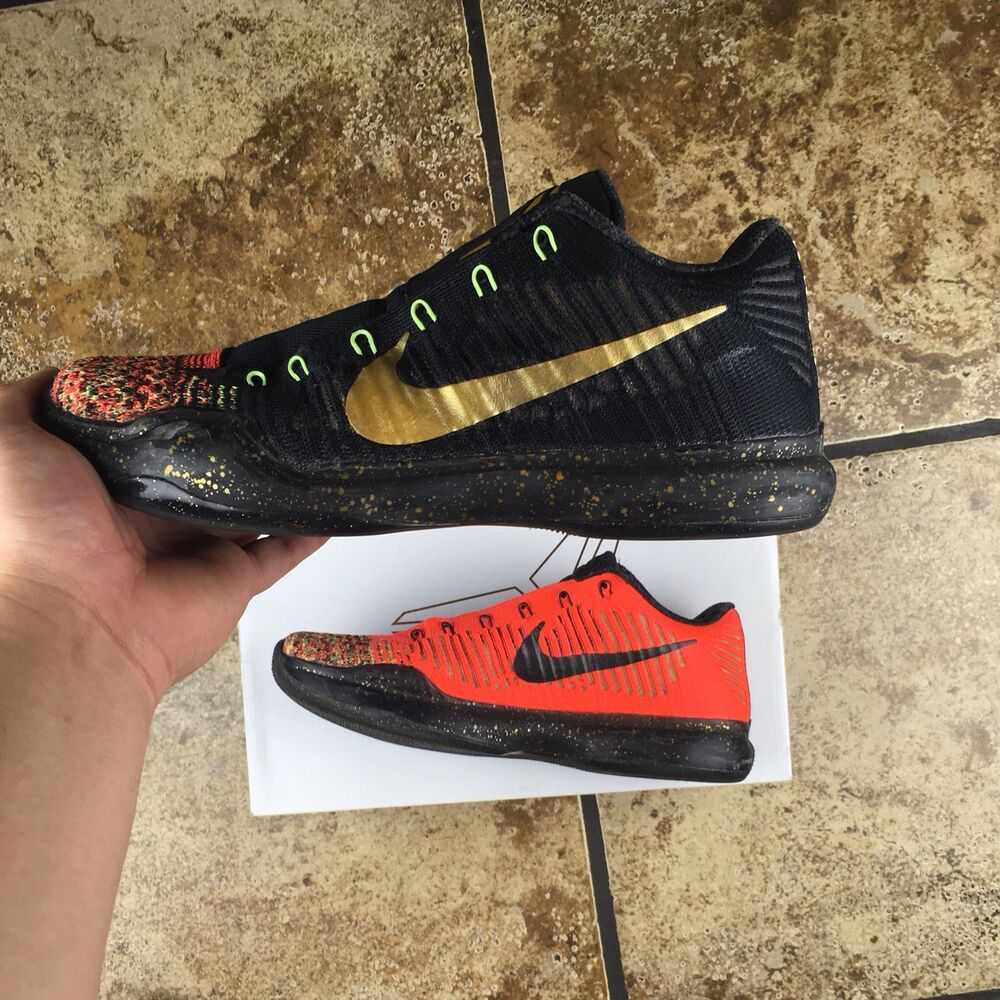 the best attitude 5c166 6f7b5 Details about Nike Kobe 10 X Elite Low Christmas 5 Rings Gold Black Red SZ  8.5 (802560-076)